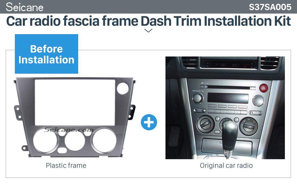 Seicane Black 2Din Car Radio Fascia for 2005-2009 Subaru Legacy Outback Left Hand Car Dash CD Plate Frame Stereo Fitting Kit