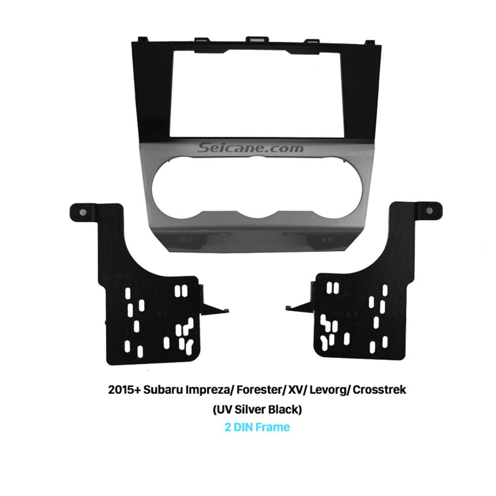 Seicane UV Silver Black 2Din Car Radio Fascia for 2015+ Subaru Impreza Forester XV Levorg Crosstrek CD Trim DVD Stereo Panel Frame