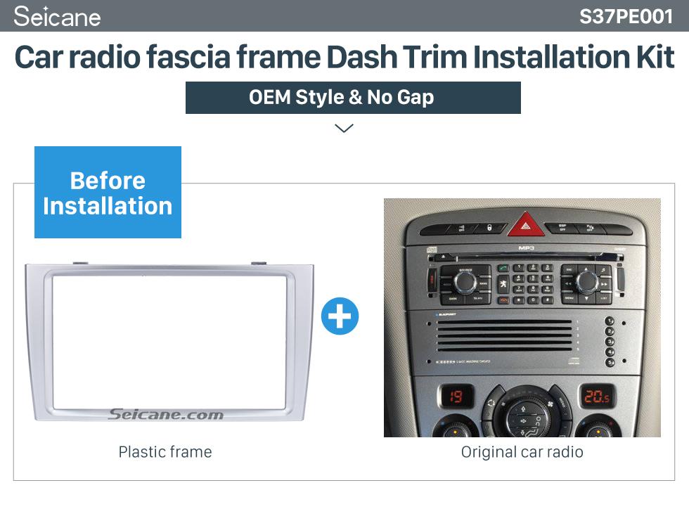 Car radio fascia frame Dash Trim Installation Kit  Classic 2 Din Car Radio Fascia for 2008+ PEUGEOT 308 Auto Stereo Interface Panel Car Styling Frame In Dash Mount Kit