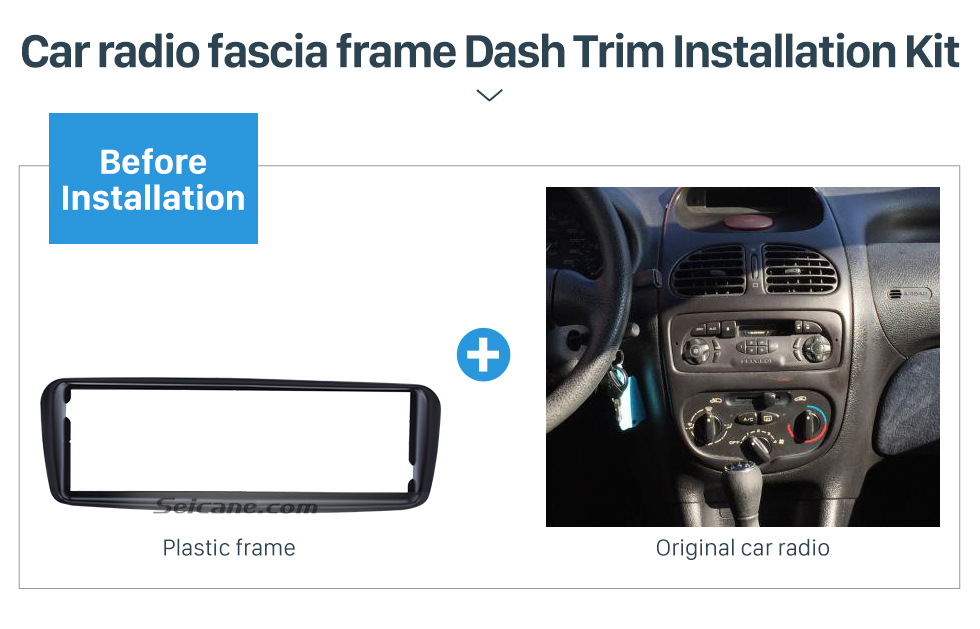 Seicane Professional 1 Din Car Radio Fascia for 1988+ UP PEUGEOT 206 Auto Stereo Adaptor Trim Installation Kit Frame Panel