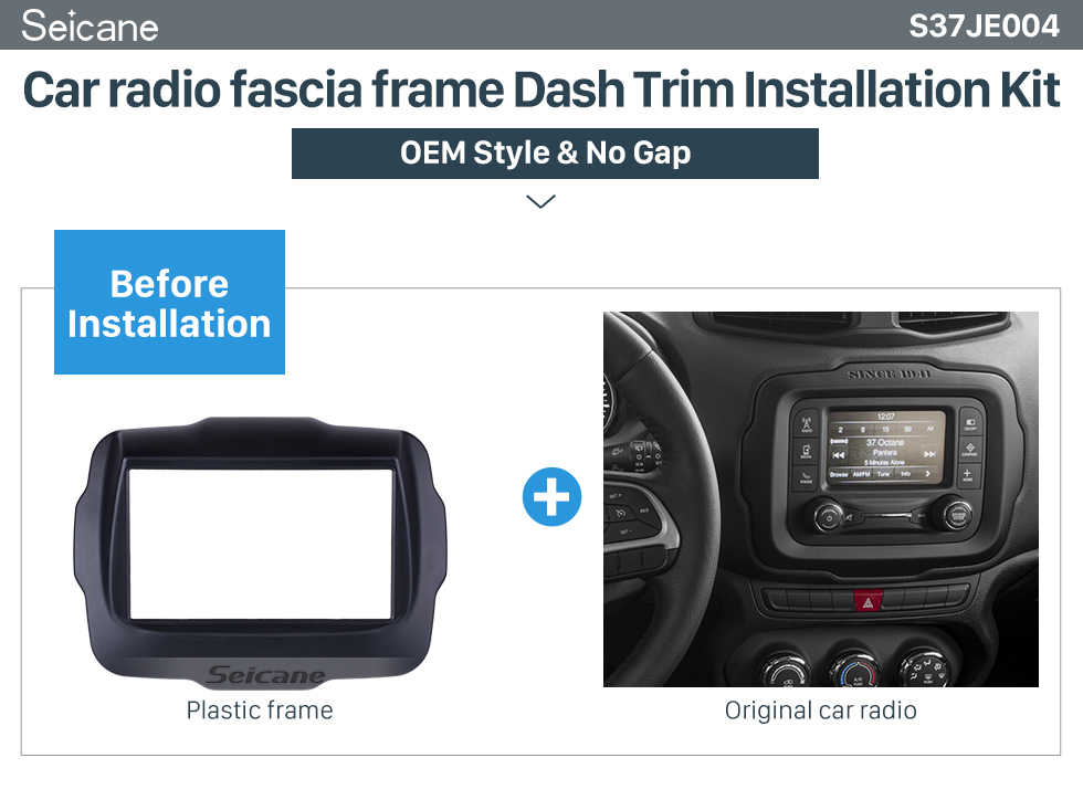 Seicane Popular Double Din Car Radio Fascia for 2015 Jeep Renegade Dash Kit Installation Panel Plate Frame CD Trim
