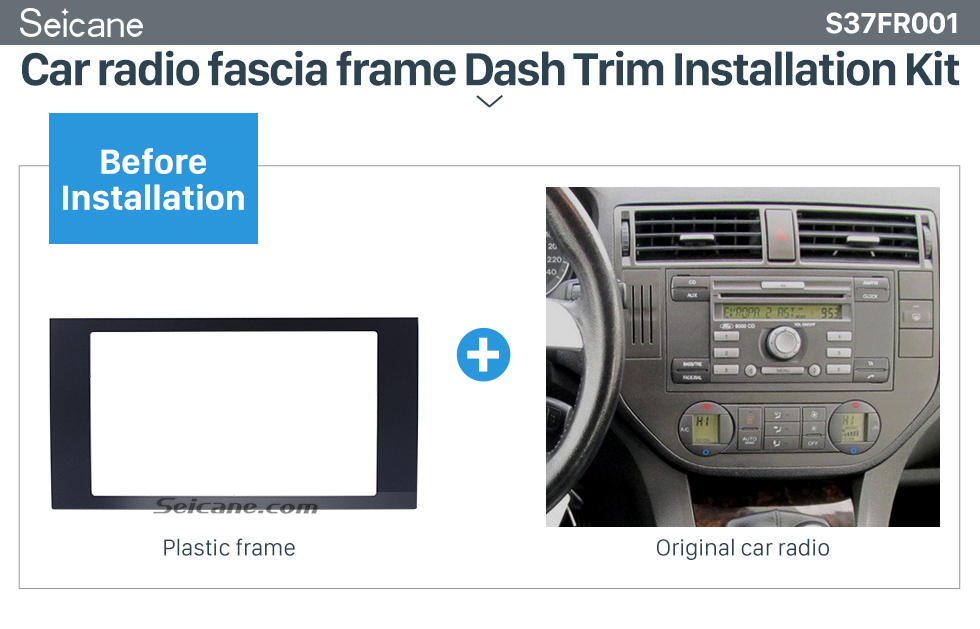 Seicane Elegant Double Din Car Radio Fascia for 2006 Ford Focus Transit Fitting Frame Dash Mount DVD Player