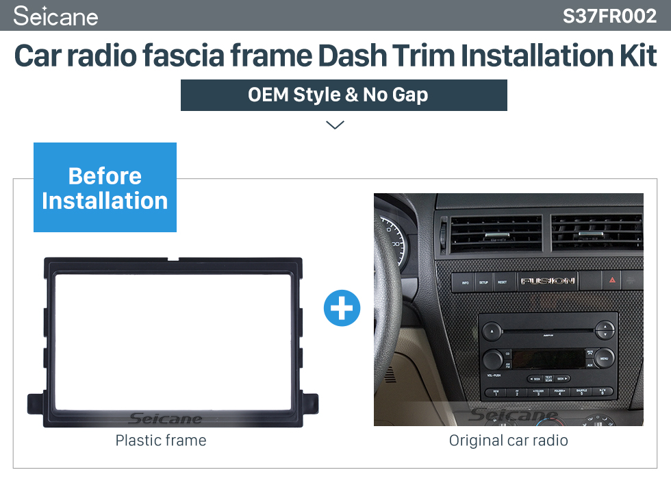 Seicane Exquisite Double Din Car Radio Fascia for 2006 Ford Fusion Trim Bezel Dash Mount Frame Auto stereo Adapter