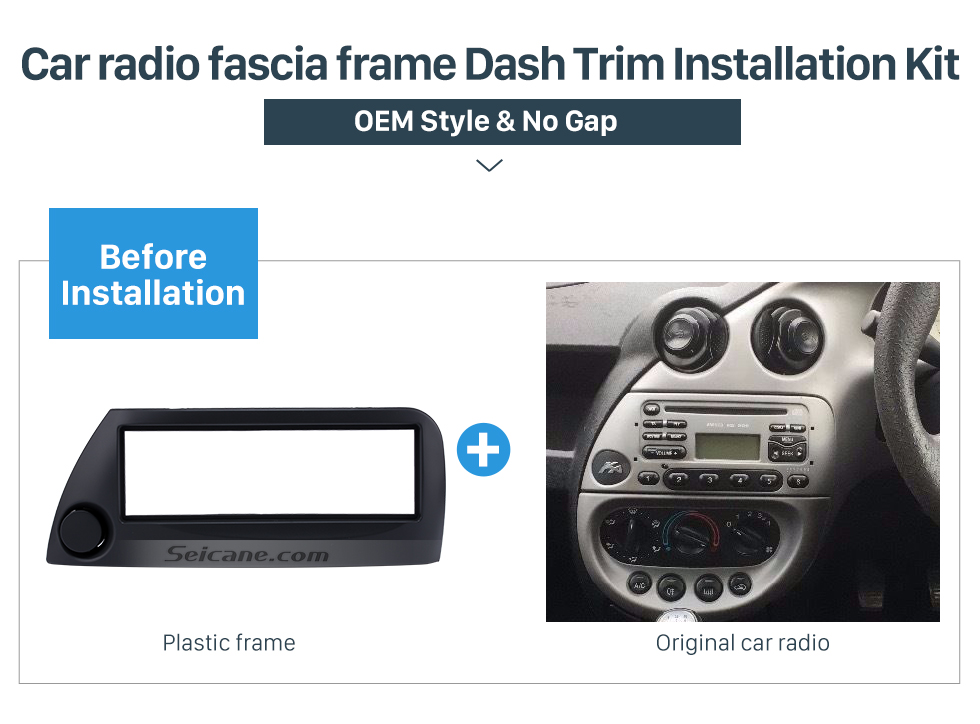 Seicane Black 1Din Car Radio Fascia for 2005 Ford Ka European Right Hand Car Audio Frame Trim Bezel Dash Kit
