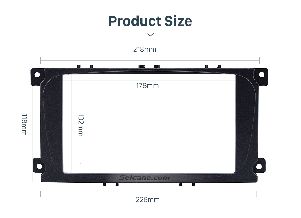 Seicane Black Double Din Car Radio Fascia for 2007 Ford Mondeo C Max Audio Frame DVD Panel CD Trim Face Plate