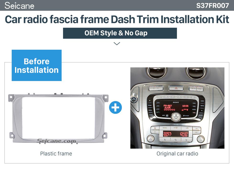 Car radio fascia frame Dash Trim Installation Kit  Silver 2Din Car Radio Fascia for 2007 Ford Mondeo C Max Trim Install Frame Panel Plate Stereo Interface