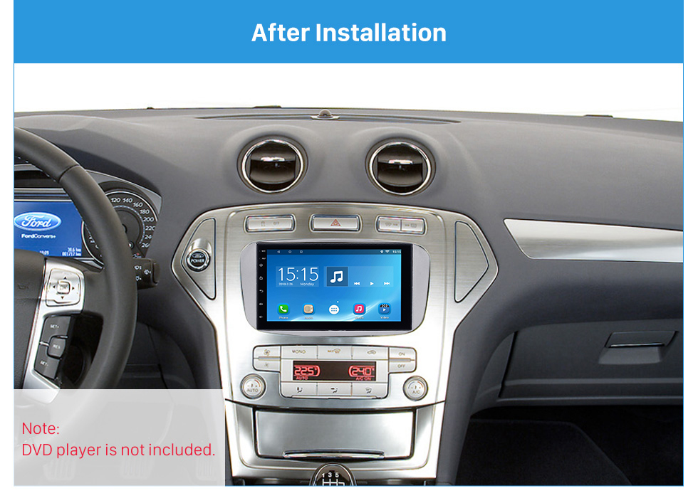 After Installation Silver 2Din Car Radio Fascia for 2007 Ford Mondeo C Max Trim Install Frame Panel Plate Stereo Interface
