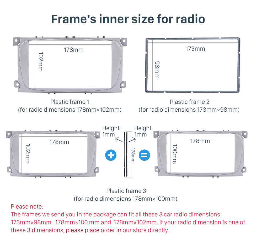 Frame's inner size for radio Silver 2Din Car Radio Fascia for 2007 Ford Mondeo C Max Trim Install Frame Panel Plate Stereo Interface
