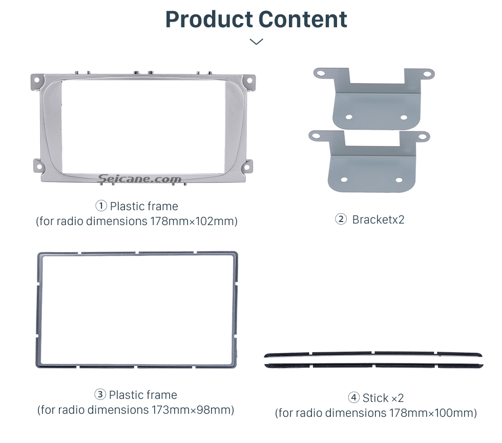 Product Content Silver 2Din Car Radio Fascia for 2007 Ford Mondeo C Max Trim Install Frame Panel Plate Stereo Interface