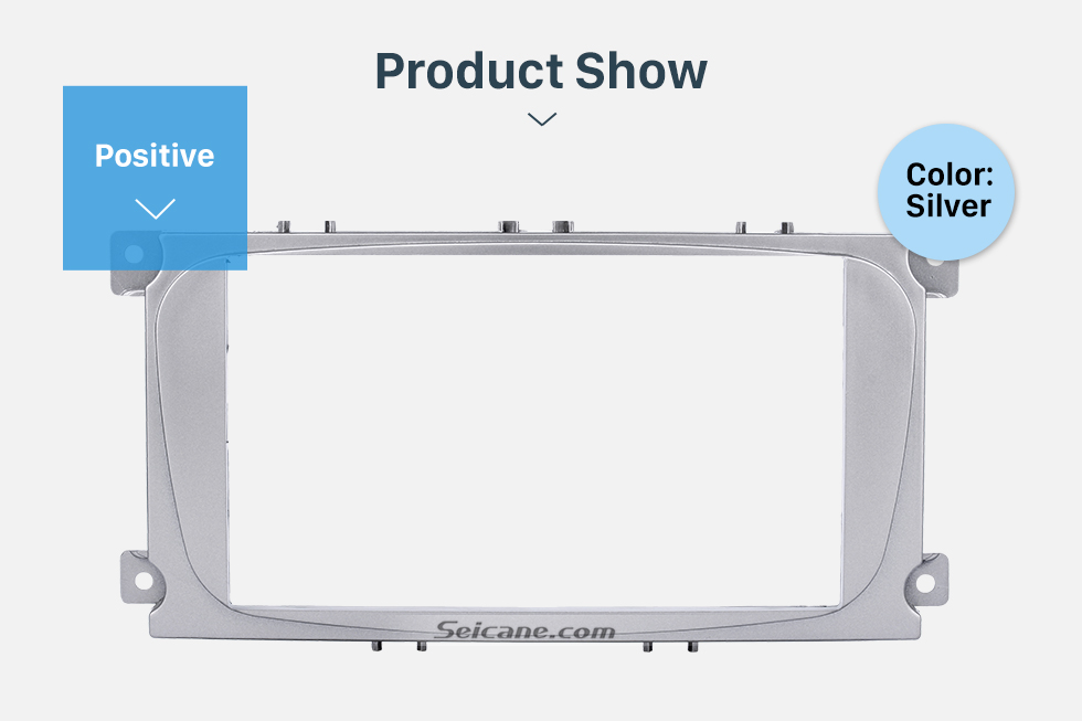 Product Show Silver 2Din Car Radio Fascia for 2007 Ford Mondeo C Max Trim Install Frame Panel Plate Stereo Interface