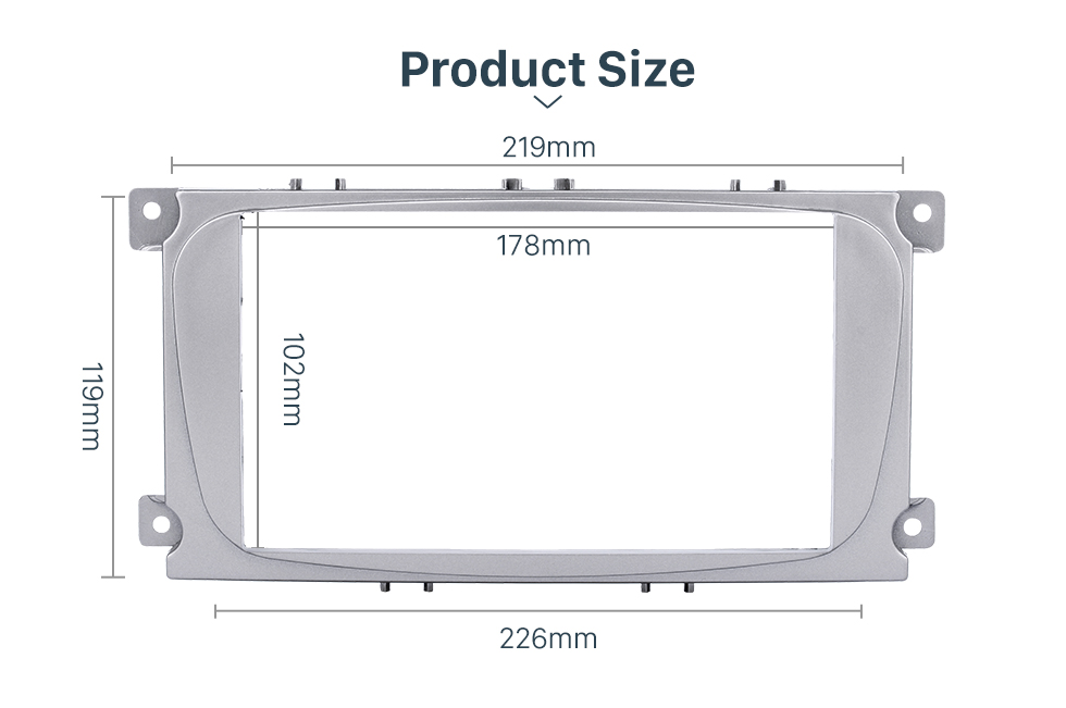 Product Size Silver 2Din Car Radio Fascia for 2007 Ford Mondeo C Max Trim Install Frame Panel Plate Stereo Interface