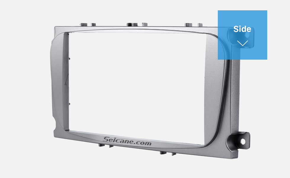 Side Silver 2Din Car Radio Fascia for 2007 Ford Mondeo C Max Trim Install Frame Panel Plate Stereo Interface