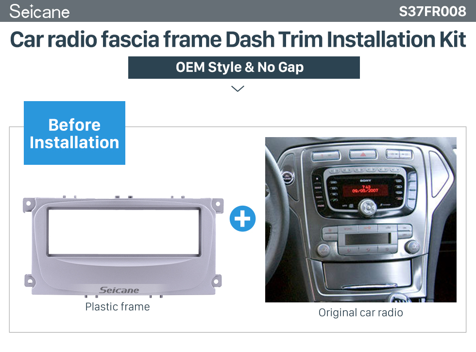 Seicane Nice 1Din Car Radio Fascia for 2007 Ford Mondeo C Max Panel Plate Frame Audio Cover Stereo Install