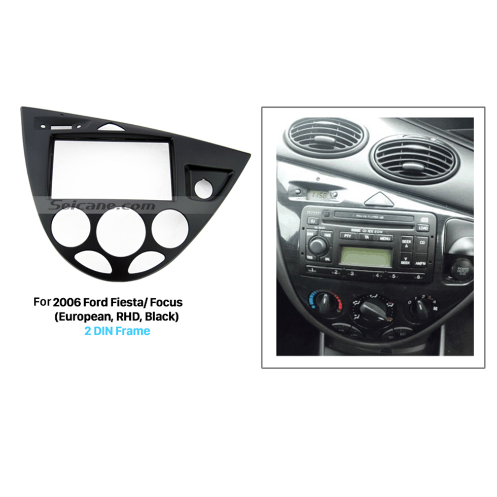 Seicane Black Double Din Car Radio Fascia for 2006 Ford Fiesta Focus European Right Hand Car Dash Kit Car Styling Panel Frame
