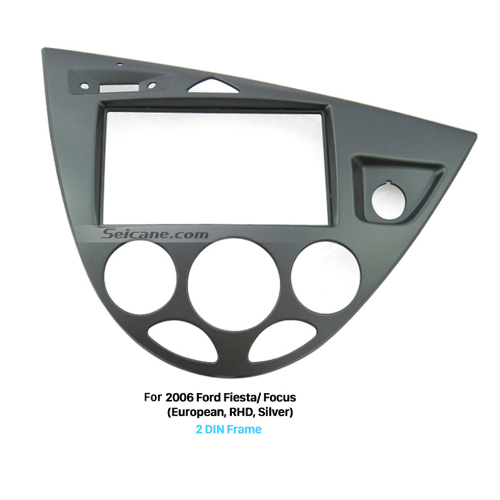Seicane Silver 2 Din Car Radio Fascia for 2006 Ford Fiesta Focus European Right Hand Car Dash Mount Kit Stereo Install DVD Panel