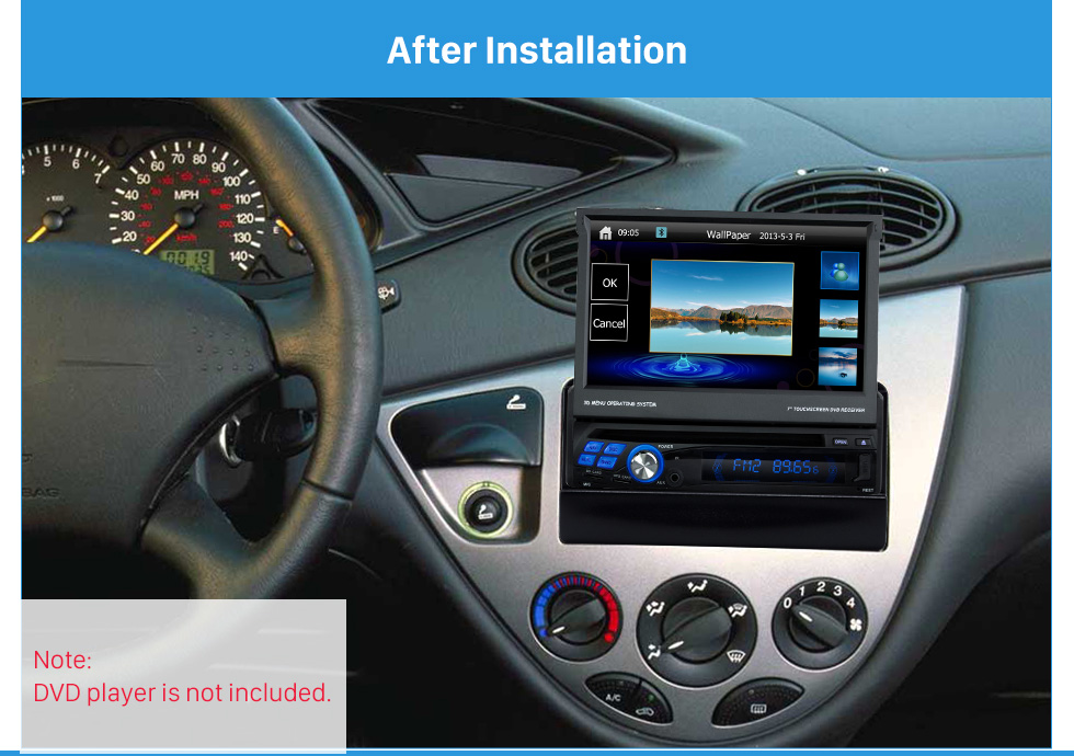 After Installation Great 1Din Car Radio Fascia for 1998-2000 Ford Focus DVD Frame Stereo Install In Dash Mount Kit