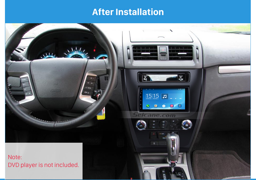 After Installation Black 2Din Car Radio Fascia for 2010 Ford Fusion Auto Stereo Adaptor Panel Plate Frame Dash Mount