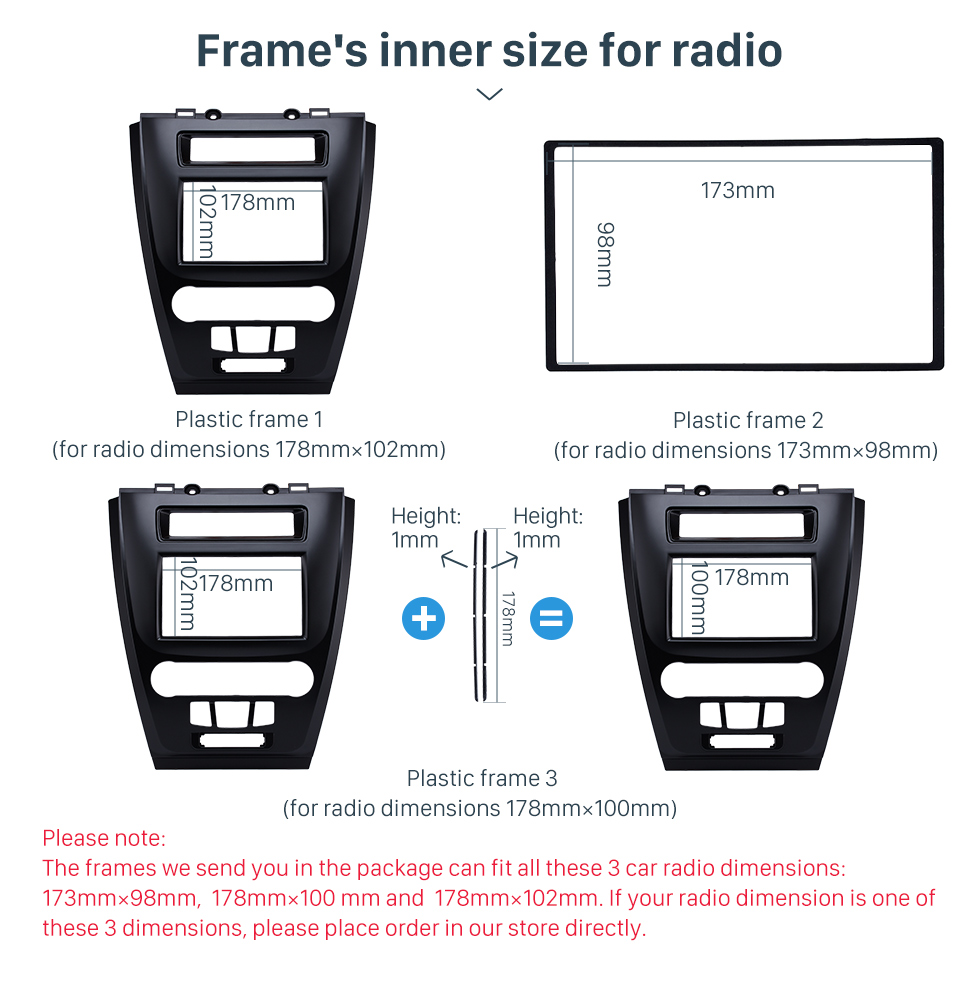 Frame's inner size for radio Black 2Din Car Radio Fascia for 2010 Ford Fusion Auto Stereo Adaptor Panel Plate Frame Dash Mount