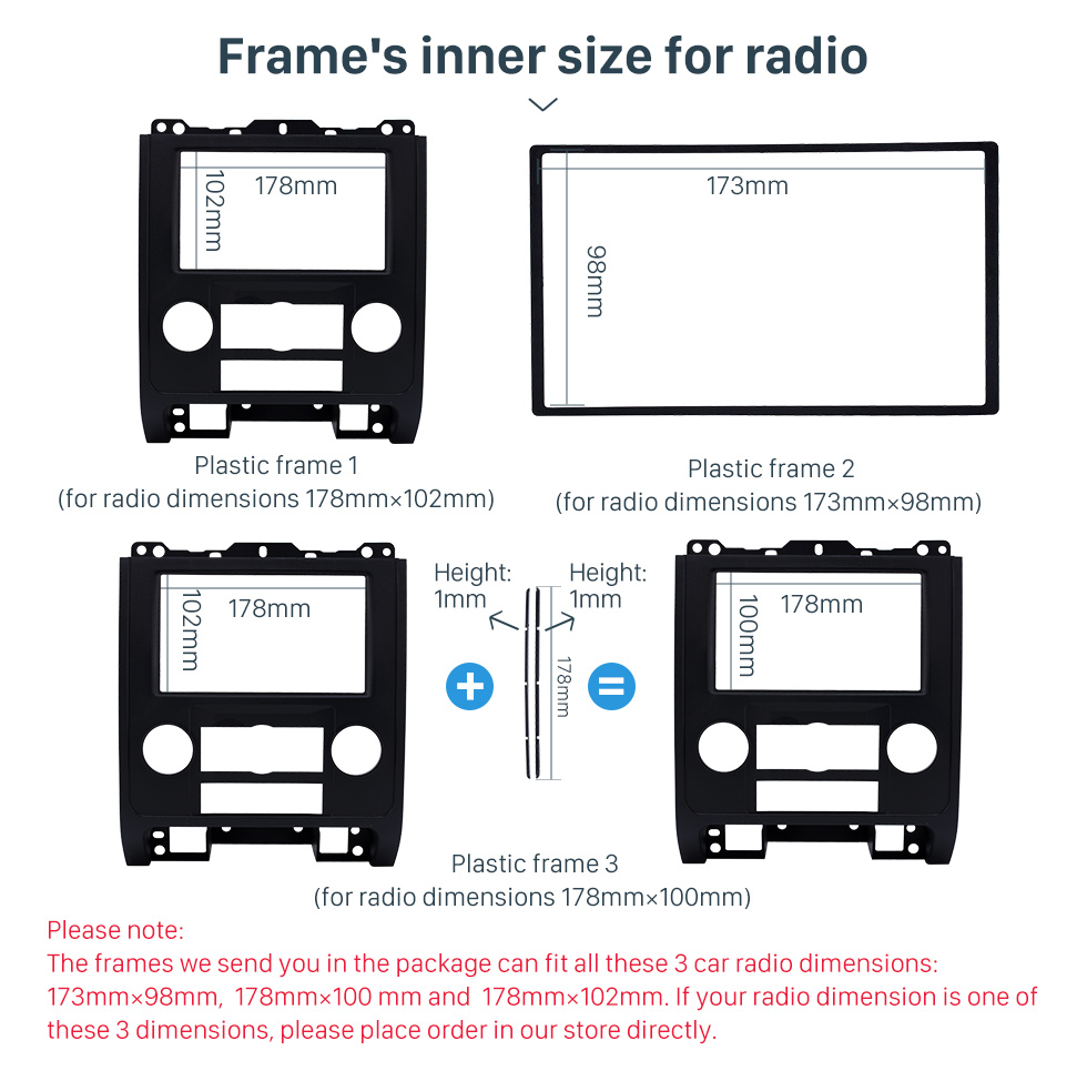 Frame's inner size for radio Double Din Car Radio Fascia for 2007-2012 Ford Escape MAZDA Tribute MERCURY Mariner DVD Frame In Dash Mount Kit Trim Panel
