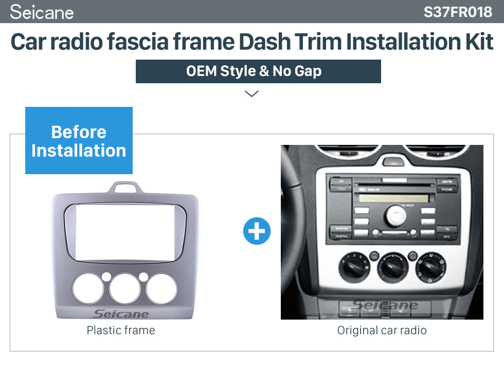 Seicane Combination Double Din Car Radio Fascia for2004-2011 Ford Focus Panel Plate Frame Dash Mount Stereo Install