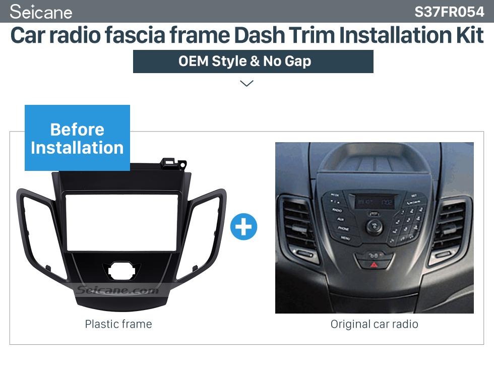 Car radio fascia frame Dash Trim Installation Kit  Black 2Din Car Radio Fascia for 2008-2011 Ford Fiesta Auto Stereo Installation Car Styling Panel Frame