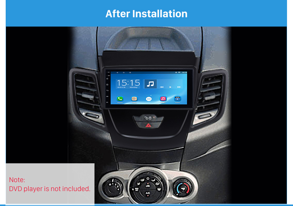 After Installation Black 2Din Car Radio Fascia for 2008-2011 Ford Fiesta Auto Stereo Installation Car Styling Panel Frame
