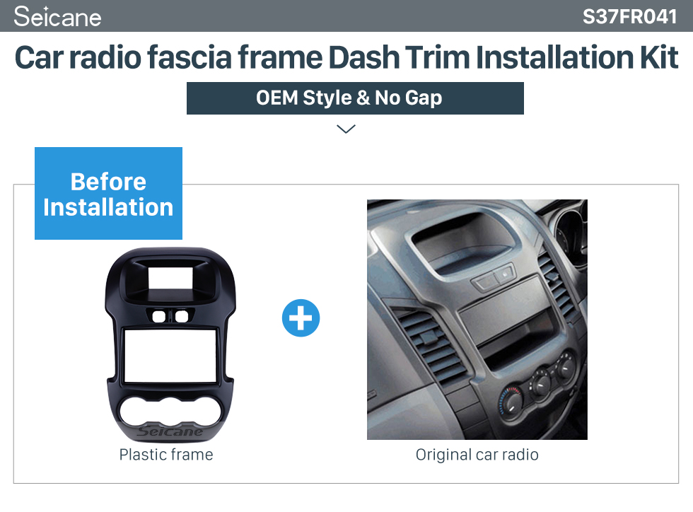 Seicane Great Double Din Car Radio Fascia for 2011 2012 2013 Ford Ranger Dash Mount DVD frame Stereo Player Panel Plate