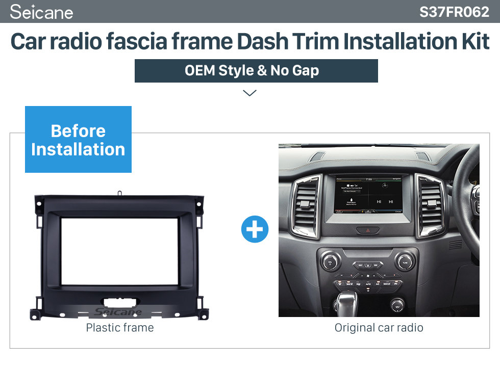 Seicane Nice Double Din Car Radio Fascia for 2015+ Ford Ranger Refitting Car Kit Audio Frame Panel Plate Trim Bezel