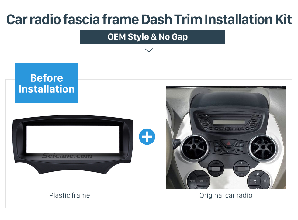 Car radio fascia frame Dash Trim Installation Kit Well-designed 1Din Car Radio Fascia for 2008+ Ford Ka Stereo Install In Dash Mount Kit Outter Frame 182*53mm