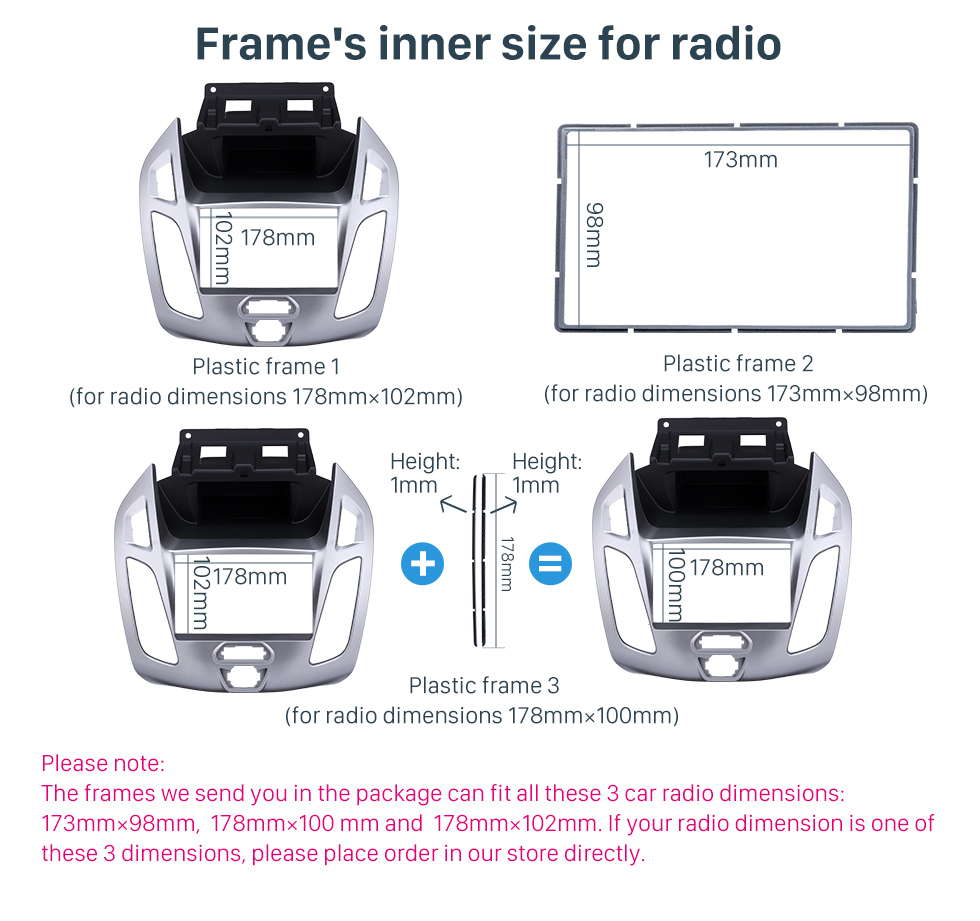 Seicane Silver Double Din Car Radio Fascia for 2014 2015 Ford Transit Dash Mount Stereo Install Frame Car Dashboard Covers
