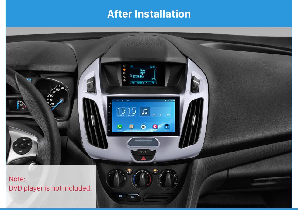 Seicane Plateado Doble Din Radio Fascia para 2014 2015 Ford Transit Dash Mount Stereo Instalar Marco Car Dashboard Covers