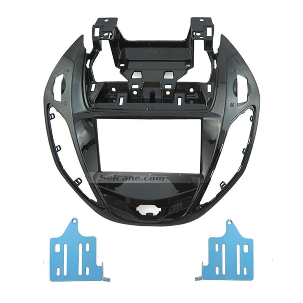 Seicane UV Black Double Din Car Radio Fascia for 2012 Ford B-MAX Panel Frame In Dash Mount Kit Autostereo