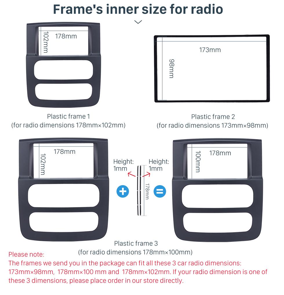 Seicane Black 2Din Car Radio Fascia for 2002 2003-2005 Dodge Ram 1500 2500 3500 Stereo Dash CD Surround Panel Audio Fitting Frame Adaptor