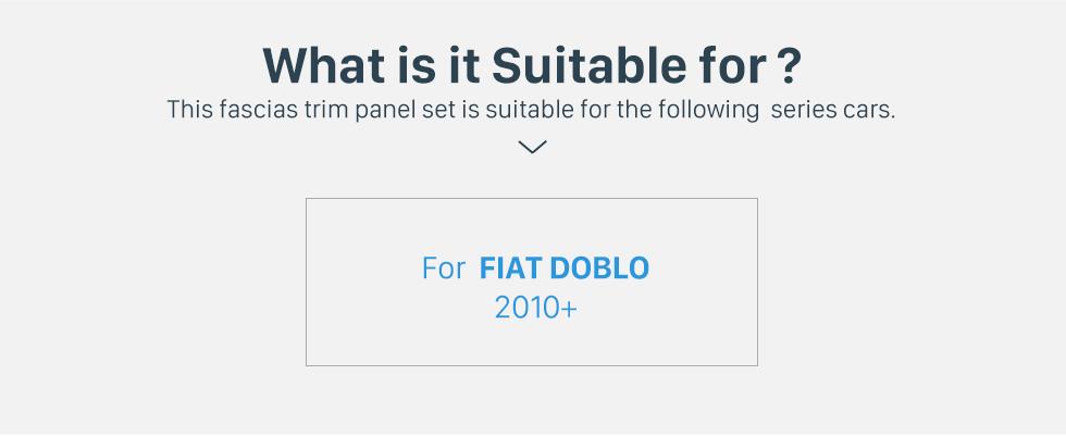 Seicane Black Double Din Car Radio Fascia for 2010+ FIAT DOBLO CD Trim Installation Frame Panel Audio Fitting Adaptor