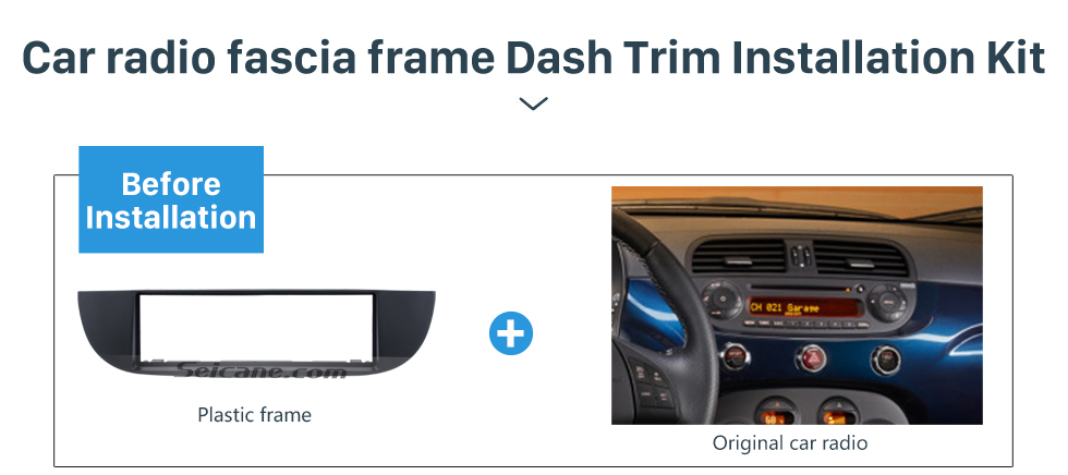 Seicane Well-crafted 1Din Car Radio Fascia for 2007 FIAT 500 Dash Mount Kit Adapter Audio Player DVD Frame