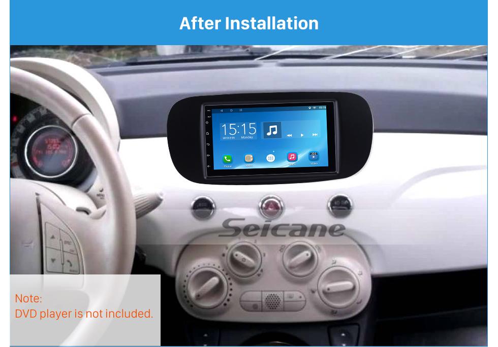 Seicane Black Double Din Car Radio Fascia for 2011 FIAT 500 CD Trim Audio Frame Player Face Plate Panel