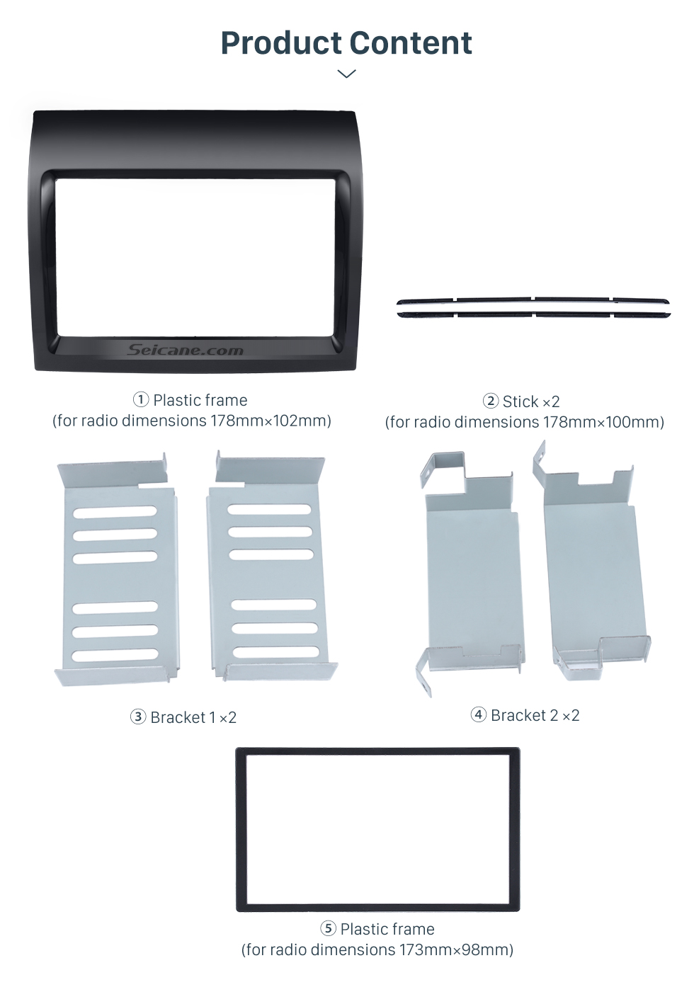Seicane UV Black 2Din Car Radio Fascia for 2011 FIAT DUCATO Dash Mount Kit Adapter DVD Frame Panel