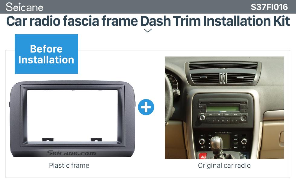Seicane Grey Double Din Car Radio Fascia for 2005 FIAT CROMA Stereo Dash CD Frame Panel Trim Installation Kit