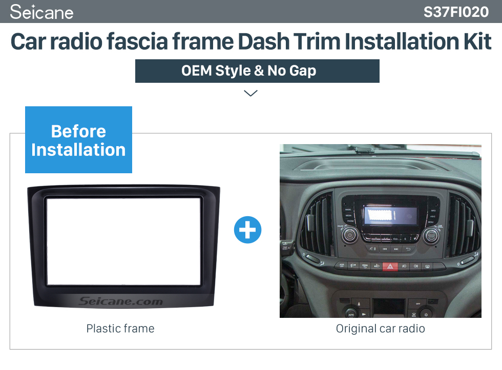 Seicane 173*98mm 2Din Car Radio Fascia for 2015 Fiat Doblo Opel Combo Dash Mount Audio Cover Car refitting dvd frame