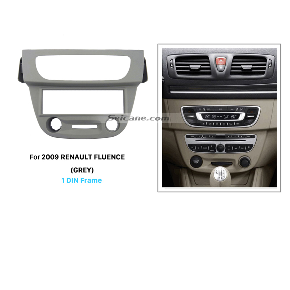 Seicane Fashionable Gray 1 Din car radio for 2009 RENAULT FLUENCE Stereo Dash Kit Installation Trim Bezel Car Styling DVD Player
