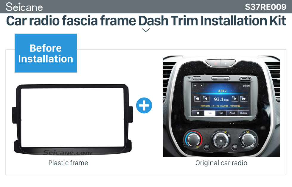 Seicane Classic 2 Din car radio Fascia for 2012-2014 RENAULT DUSTER SANDERO LOGAN Auto Stereo Interface Panel Dash Trim Kit DVD Frame