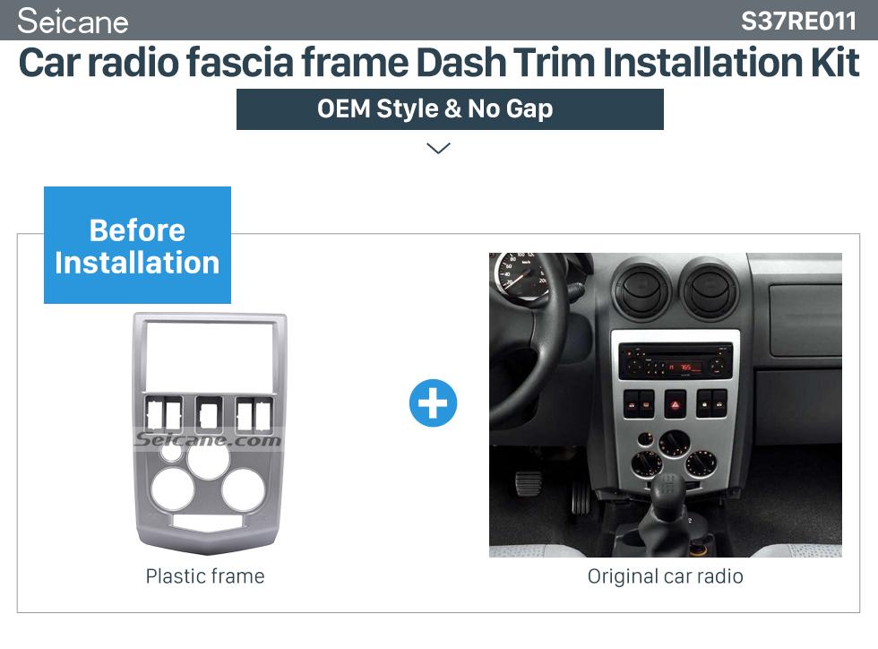 Car radio fascia frame Dash Trim Installation Kit Popular 2Din car radio Fascia for 2004 2005 2006 2007 RENAULT LOGAN Trim Dash CD Installation Kit Stereo Interface Frame Panel