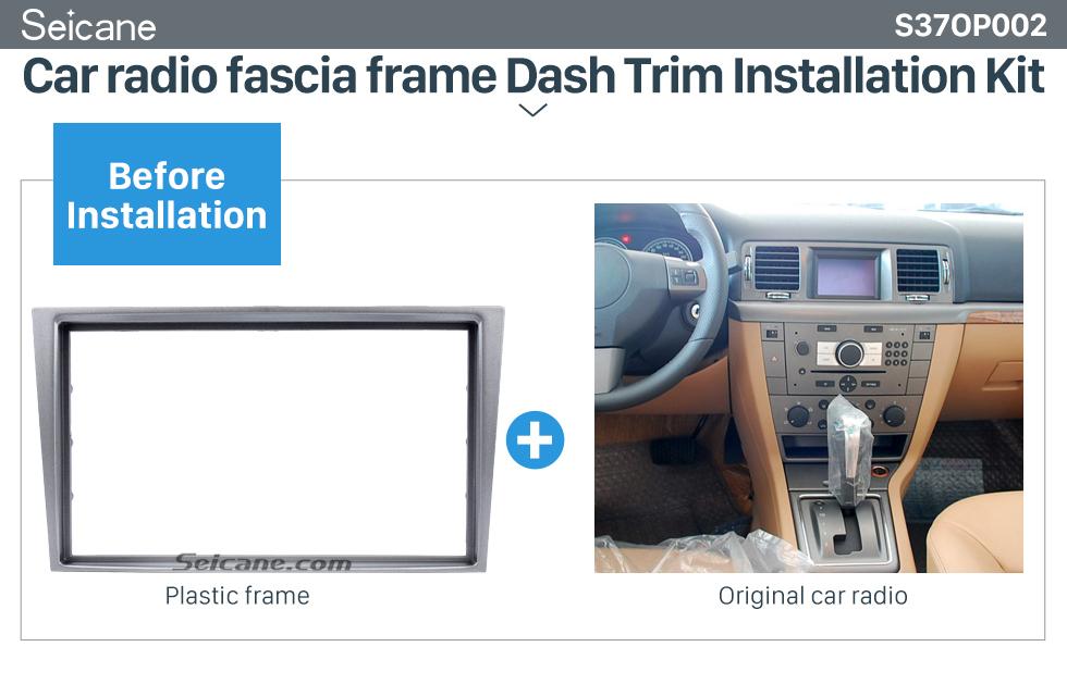 Seicane Silver 2Din Car Radio Fascia for 2006+ Opel Vectra Astra Zafira Dash CD Installation Kit Panel Kit Dashboard Frame Panel