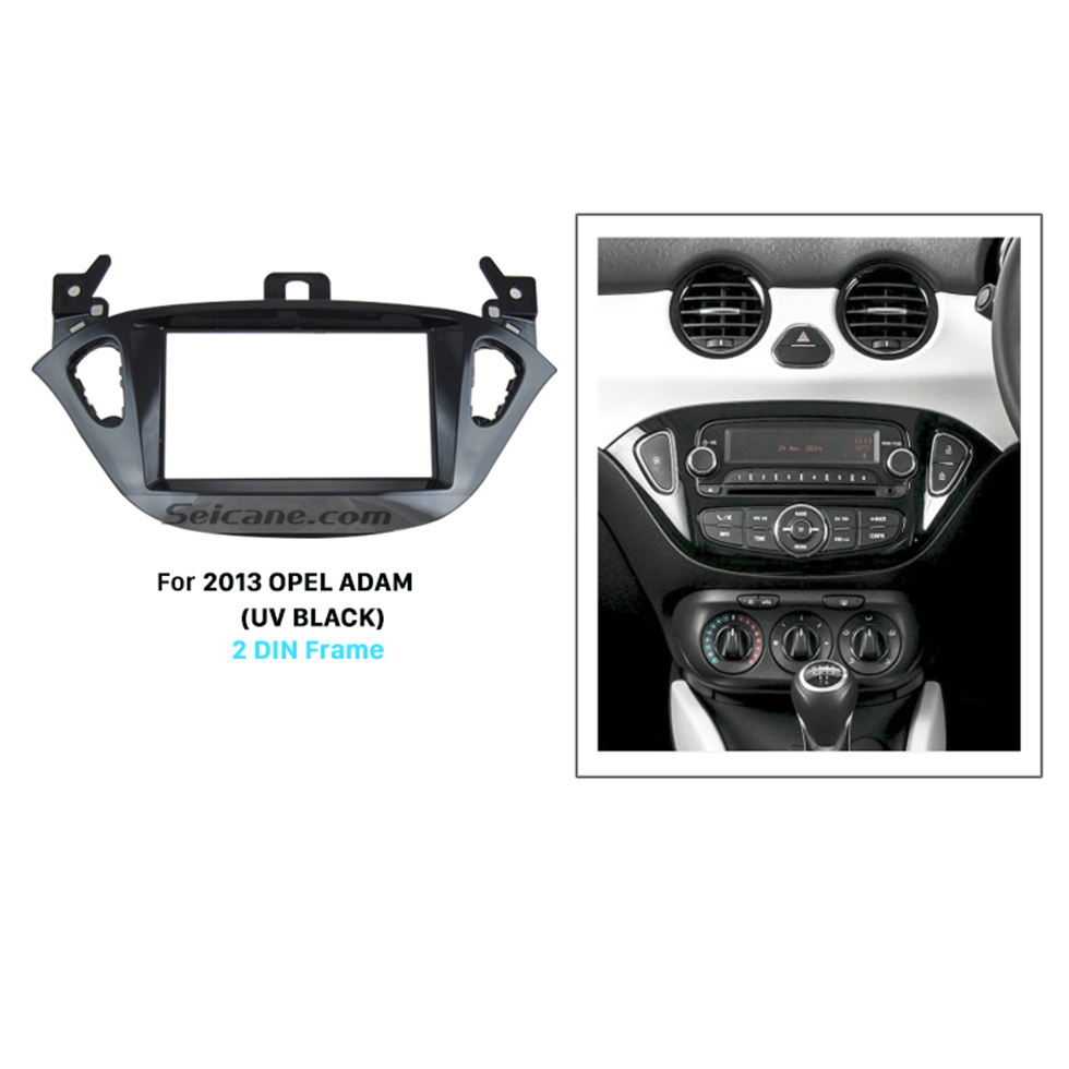 Seicane UV Black Double Din Car Radio Fascia for 2013 Opel Adam CD Installation Kit Panel Frame Trim Bezel