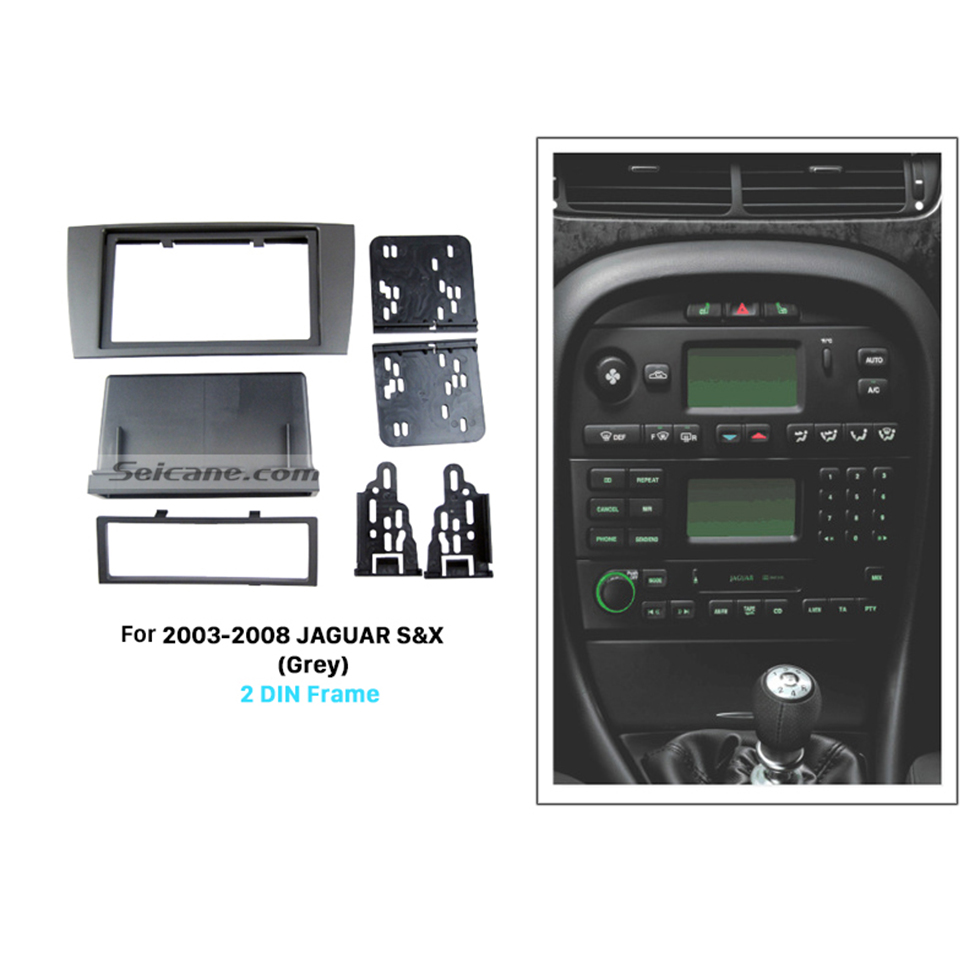 Seicane Grey Double Din Car Radio Fascia for 2003-2008 Jaguar S&X Autostereo CD Dash Mount Trim Panel Adapter