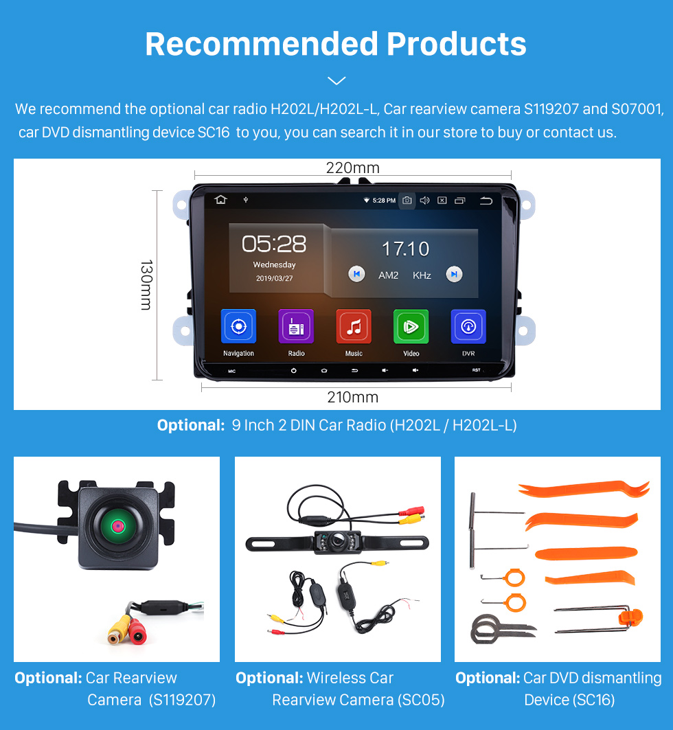 Seicane Double 2 Din Car Stereo Fascia for SEAT ALTEA Left Hand Drive (LHD) Radio Frame Dash DVD Player Trim Panel Installation Kit