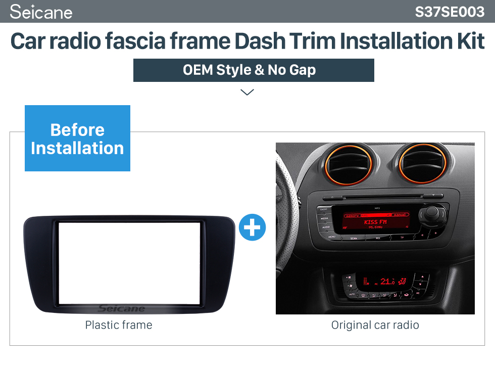 Seicane Top Quality Double Din Vehicle-mounted Radio Fascia for 2009-2013 SEAT IBIZA Dash DVD Player Face Plate Trim Panel Installation Frame Kit