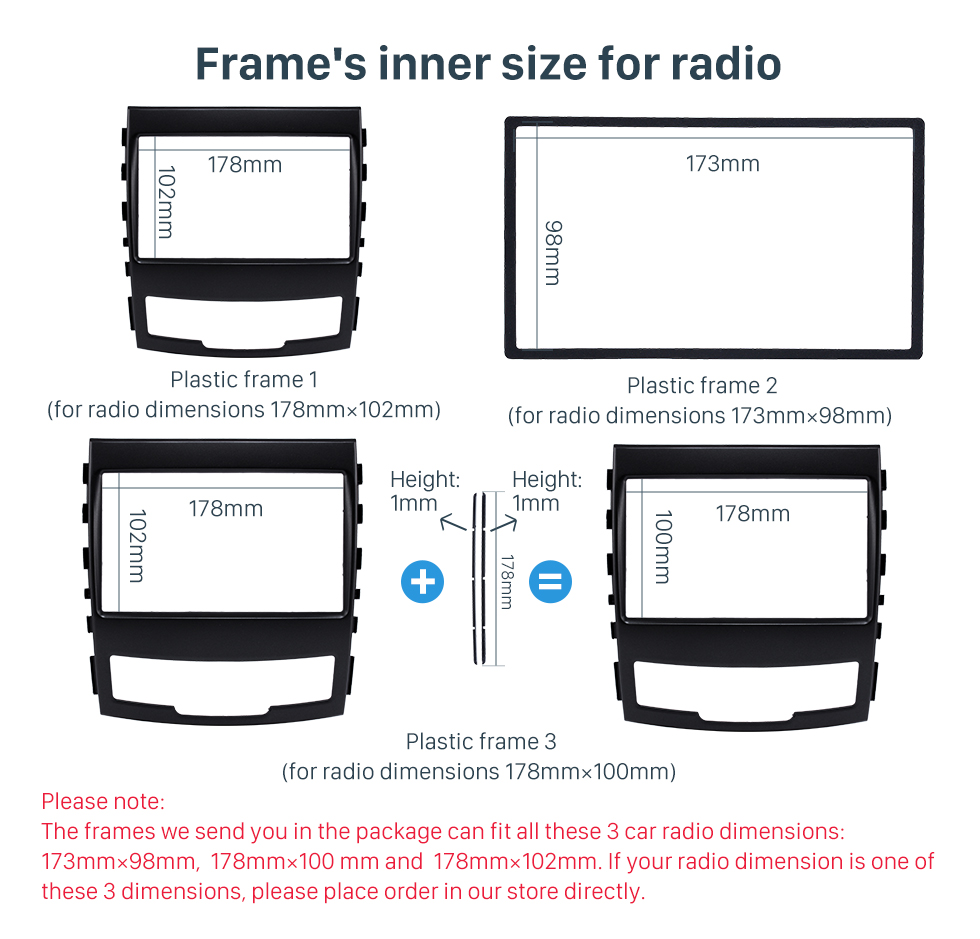 Frame's inner size for radio Fashionable 2 Din Car Radio Fascia for 2010 SSANG YONG KORAND Fitting Frame Stereo Interface Dash Mount Kit Adaptor