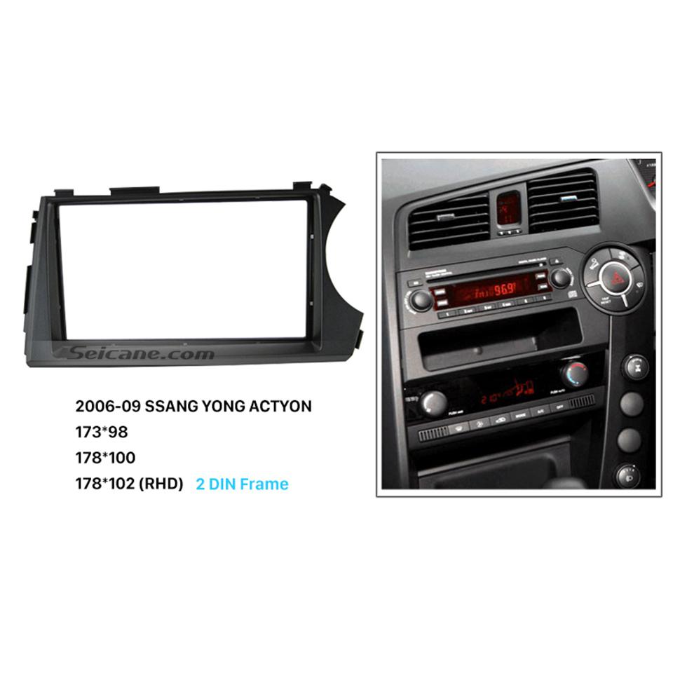 Seicane Classic RHD 2 Din Car Radio Fascia for 2006 2007 2008 2009 SSANG YONG ACTYON CD Trim Panel Auto Stereo Dash Mount Kit Adaptor