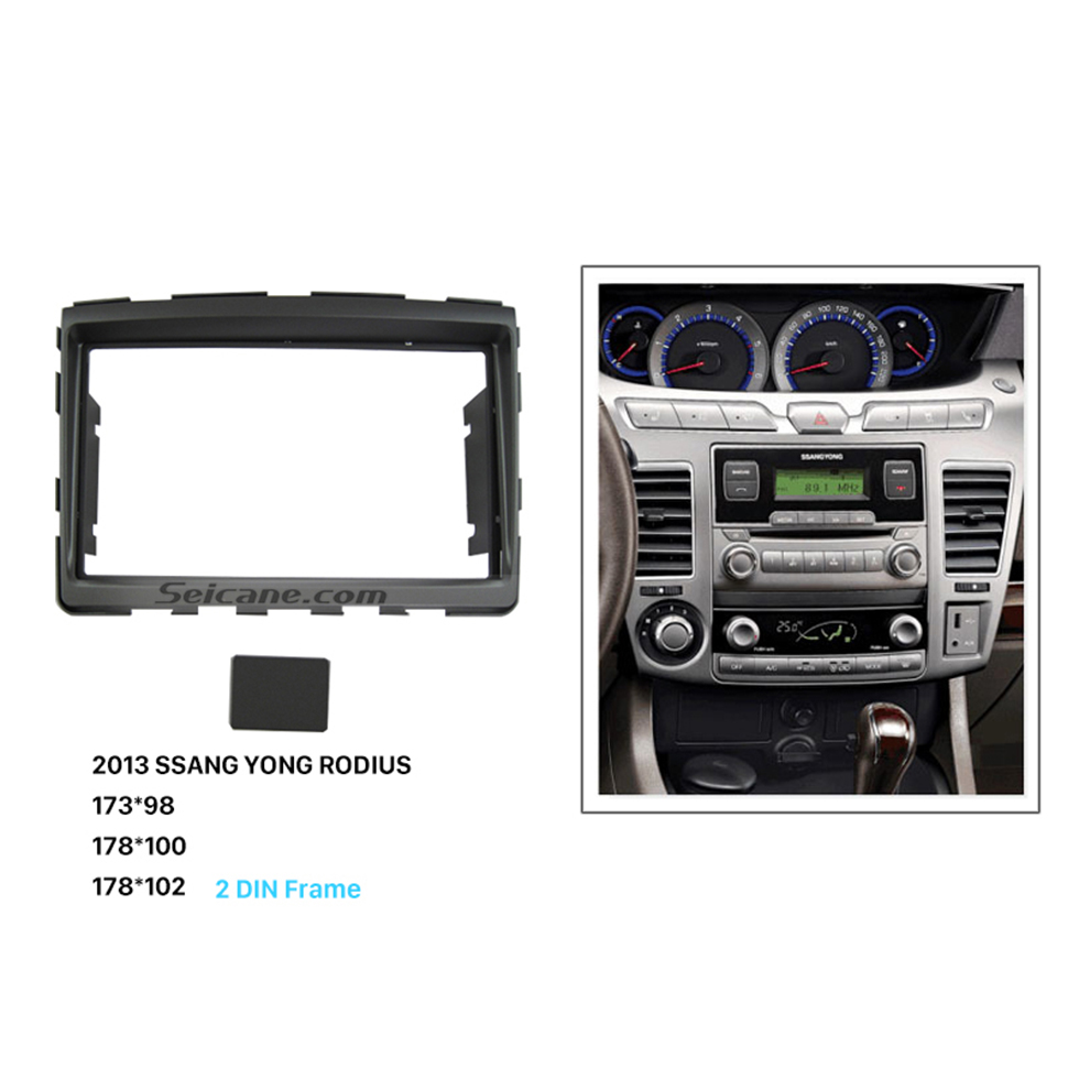 Seicane Pretty 2 Din Car Radio Fascia for 2013 SSANG YONG RODIUS DVD Panel Dash Kit Panel Adaptor Stereo Interface